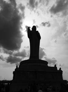 The Buddha statue on the island in the Hussain Sagar