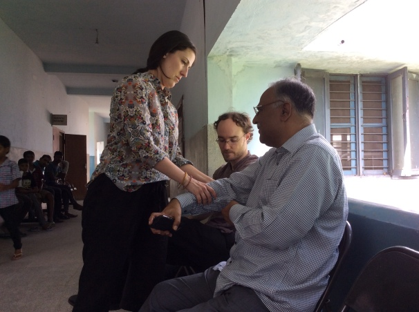 Dr. Bradke examining the Chief Admnistrator for Leprosy...