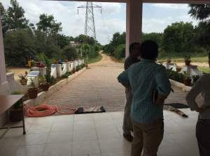 Looking out the entryway to Snehakiran